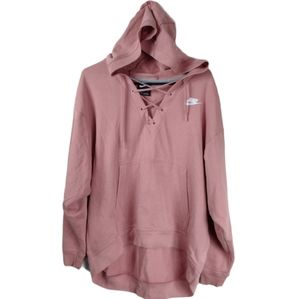 Nike Medium pink lace up french terry cloth hoodie